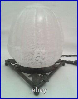 CLICHY lampe veilleuse art déco fer forgé moderniste verre 1930