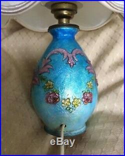 Camille FAURE, Limoges, Art Déco, Lampe émaillée, vase émail
