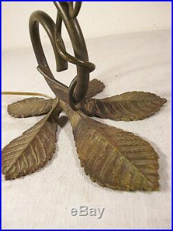 DAUM NANCY Lampe art déco en bronze et tulipe nuagée 1920/1925