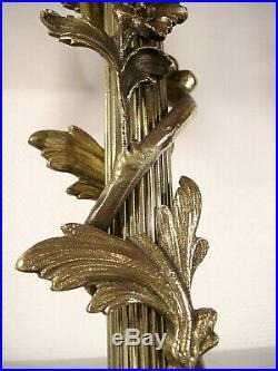 DAUM NANCY Lampe double art déco en bronze et tulipes nuagées 1920/1925
