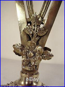 DAUM NANCY Lampe double art déco en bronze et tulipes nuagées 1920/1930