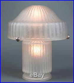 DAUM NANCY SUPERBE LAMPE CHAMPIGNON ART DECO DÉCOR GÉOMÉTRIQUE c. 1930