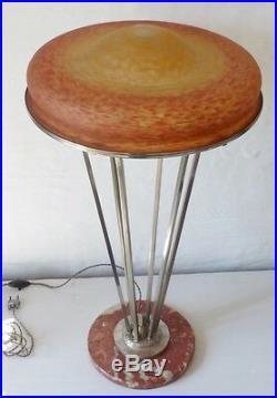 Delatte, Grande Lampe En Verre Muticouches Marmoréen, Art Déco