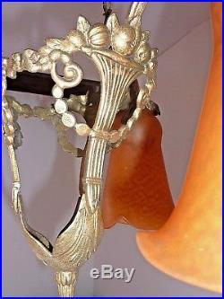 Delatte Nancy, Lampe Exceptionnelle, Pâte de Verre et Bronze, Art Déco
