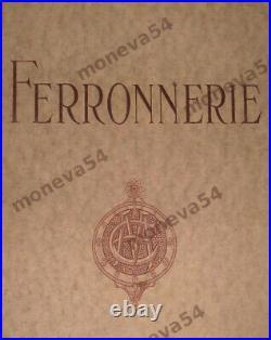 E. Marron & Hanots Grande Lampe Art Déco Fer Forgé & Obus En Verre Pressé 1930