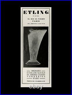 Edmond Etling Grande Lampe Champignon Art Déco Aux Dahlias En Verre Pressé 1930