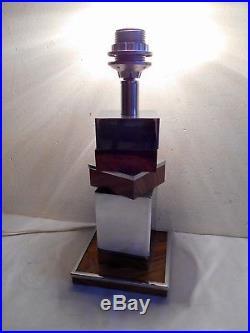 Élégant Pied De Lampe Vintage Design Moderniste Art-déco 1970 Chrome Et Bois