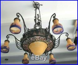 Enorme Lustre Art Deco Signe Muller Lampe French Applique Degue Daum