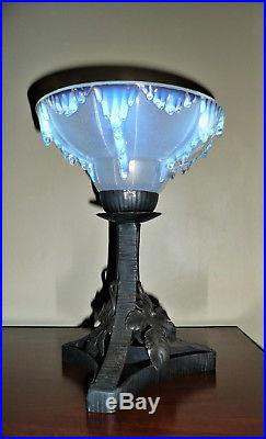 Ezan Lampe Verre Opalescent Art Deco Fer Forge