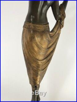 Fayral Lampe Odalisque Max Le Verrier Fonte D Art Marbre Art Deco C2470