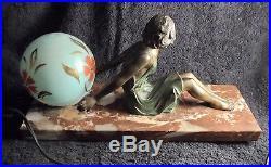 GRANDE LAMPE ART DECO 1930 sculpture femme statue lamp figural woman antique