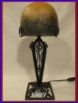 GRANDE LAMPE SIGNÉE MULATY PATE DE VERRE FER FORGÉ EP ART DECO lamp muller degué