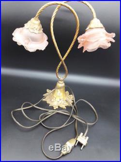GRANDE LAMPE STYLE ART DÉCO BRONZE & TULIPES DE COULEUR ROSE 36,5 cm