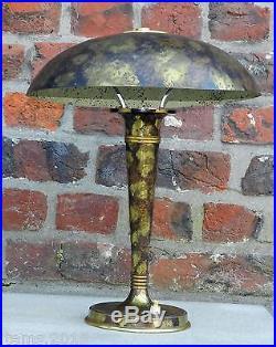 Genet Et Michon, Lampe Art Déco, Bronze, et Laiton, Décor Oxydé, 1930