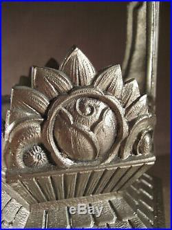 Gilles pied de lampe art déco en bronze nickelé