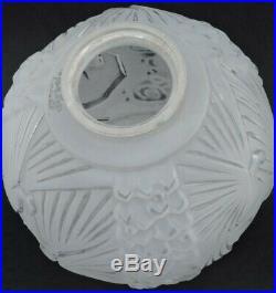 Globe Lampe Suspension Art Deco Muller Freres Luneville Aux Paons