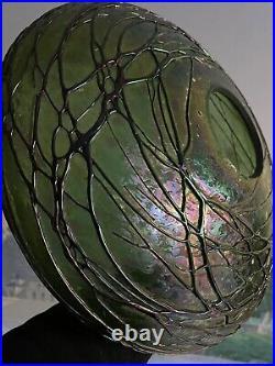 Grand Globe Loetz Verre Lustre Lampe Tulipe Art Nouveau Design Jugendstil