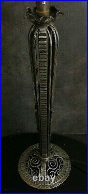 Grand Pied de Lampe en Fer Forgé Art Déco pour tulipe Muller Daum. H 54 cm