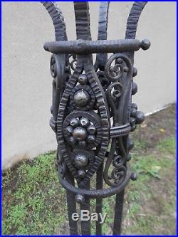 Grand Pietement Lampadaire Pied De Lampe En Fer Forge Art Deco H. 176cm No Brandt