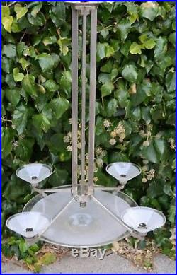 Grand lustre art deco moderniste signé petitot 1930 lampe suspension bauhaus