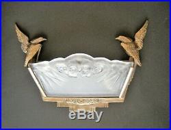 Grande Applique Lampe Art Deco Verre Bronze Oiseaux Sconce Daum Lorrain Nancy