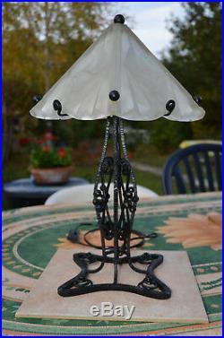Grande Lampe Art Déco 5 attribuée a DEGUE Très bon état