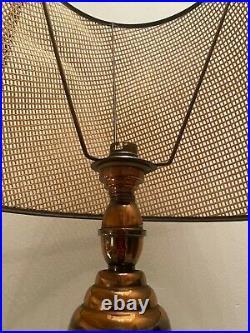 Grande Lampe Cuivre, Bois, Cannage, Art Déco, Vintage Chic