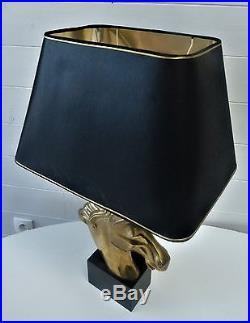 Grande Lampe Pied Tete De Cheval Laiton Maison Charles Vintage Art Deco Jansen
