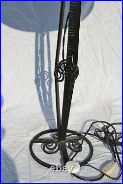 Grande Lampe art déco fer forgé tulipe pâte de verre début XX eme style MULLER