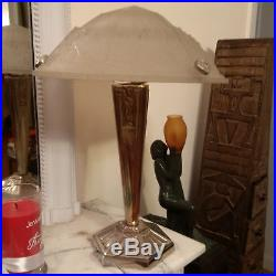 Grande lampe Art Deco Moderniste Design verre signé P MAYNADIER no muller