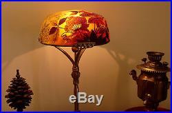 Grande lampe Ombelle style Gallé sur pied en bronze