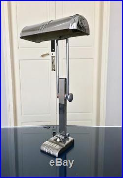 Grande lampe de bureau Art Déco Lampe de table orientable chrome orientable