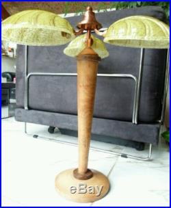 Grande lampe de bureau art déco de 60 cm avec 3 feuilles en verre câblage neuf