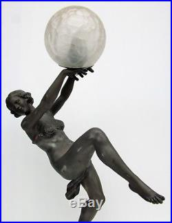 H68 cmGrande lampe d'époque art deco dancer danseuseDlg Le Verrier, Carlier