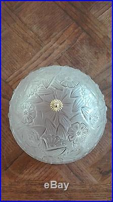 HETTIER-VINCENT lampe de table art deco verre moulé pied signé DARBOY Muller