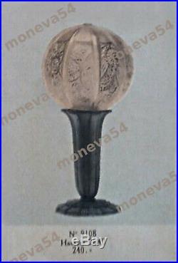 Hettier & Vincent Lampe Art Déco En Bronze Nickelé & Boule En Verre Pressé 1930