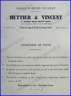 Hettier & Vincent Lampe Art Déco En Bronze Nickelé & Tulipe Verre Pressé Signée