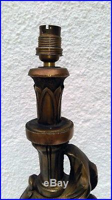IMPORTANT PIED DE LAMPE ZOOMORPHE DAUPHIN EN BRONZE début XXe 55 cm