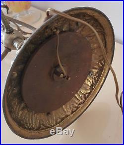 Immense Pieds De Lampe Laiton Et Bronze Pour Vasque Pate De Verre Circa 1900