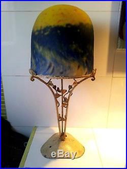 Importante Lampe Pate De Verre Art Deco Muller Freres Luneville