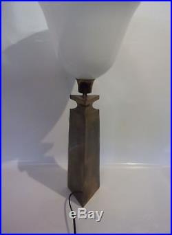 Inspiration Jacques Quinet Adnet Lampe Laiton Patine Bronze Art Deco Vers 1940