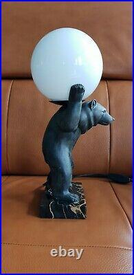 Irenée Rochard Grande Lampe Art Deco Ours French Lamp I. Rochard