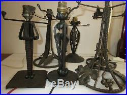 JOB LOT Lot de 6 pieds Métal, de Lampes Art déco/ Moderniste/Brutaliste