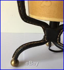 Jacques Adnet Lampe A Poser Gainé Cuir Noir Design 1930 Art-Déco