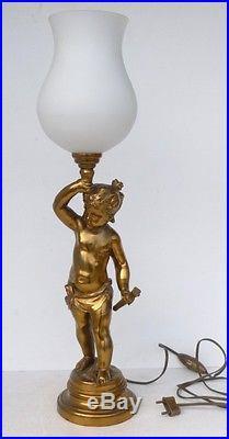 Jolie LAMPE sur Pied Statue en Régule Angelot Putti Amour