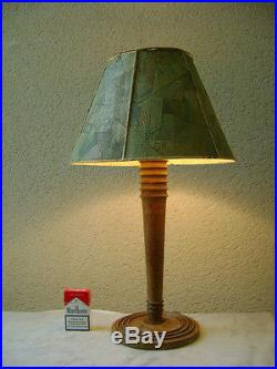 LAMPE ART DECO BAUHAUS MODERNISTE Chêne Abat Jour Façon GALUCHAT FRANCK ROUSSEAU
