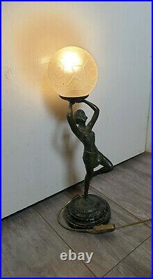 LAMPE ART DECO'DANSEUSE A TOGE' signée CARLIER