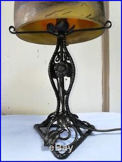 LAMPE ART DÉCO FER FORGÉ DÔME PTE DE VERRE 1930 XXème DEVEAU VERRERIE PANTIN