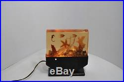 LAMPE ART DECO PLEXI AQUARIUM lucite RESINE fer forgé 1950