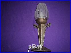 LAMPE ART DECO SKYSCRAPER BUILDING PIED FER FORGE MARTELE era muller degue daum